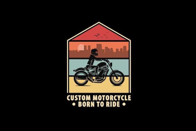 Moto custom, design silhouette stile retrò