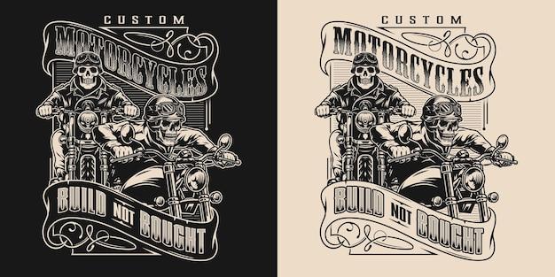 Emblema vintage moto personalizzato con motociclisti scheletro in sella a moto in stile monocromatico