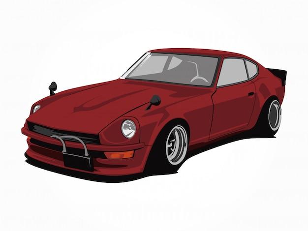 Arte rossa su ordinazione dell'illustrazione di vettore dell'automobile