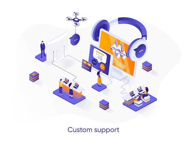 Illustrazione isometrica di supporto personalizzato con personaggi di persone