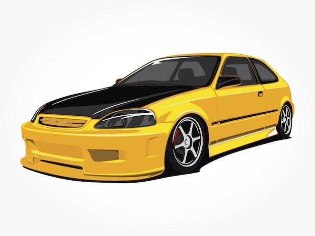 Arte gialla su ordinazione dell'illustrazione di vettore dell'automobile