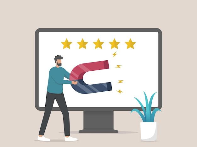 Strategia di marketing di attrazione del cliente, uomo con magnete in piedi sul monitor del computer anteriore Vettore Premium