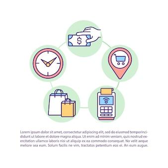 Icone della linea concettuale dei modelli di comportamento del cliente con testo