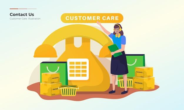 Illustrazione dell'assistenza clienti per contattarci pagina concept Vettore Premium