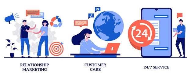 Concetto di servizio di assistenza clienti con illustrazione di persone minuscole