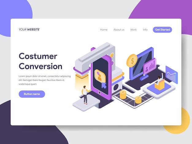 Illustrazione isometrica di conversione del cliente per le pagine web