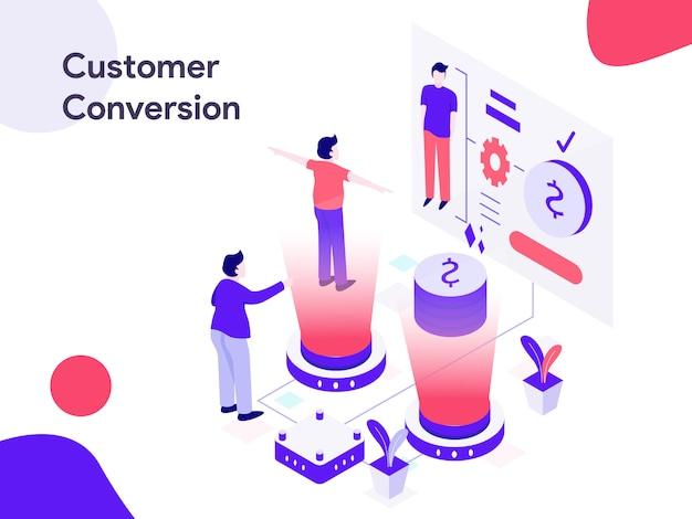 Illustrazione isometrica di conversione del cliente