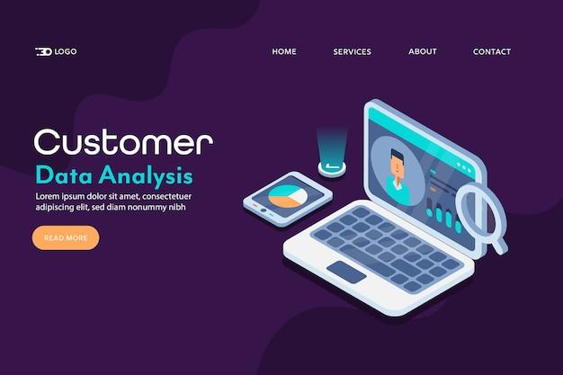 Pagina di destinazione concettuale dei dati del cliente