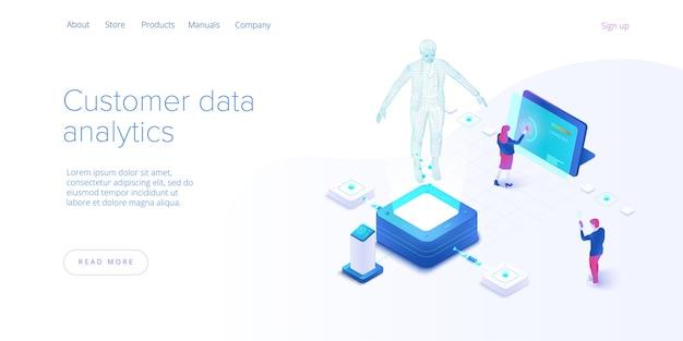 Concetto di monitoraggio dei dati del cliente nel disegno vettoriale isometrico. strumenti di marketing online o di analisi aziendale in linea. metriche di coinvolgimento degli utenti o tecnologia di misurazione. modello di layout banner web.