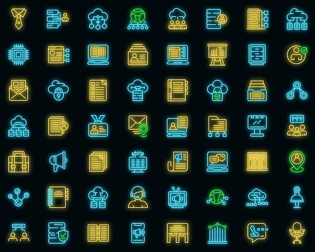 Le icone del database dei clienti hanno impostato il vettore neon