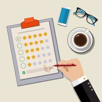 Concetto di feedback dei clienti. Vettore Premium