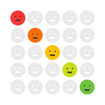 Emoticon di feedback dei clienti. grado o livello di valutazione di soddisfazione. recensione sotto forma di emozioni, faccine, emoji. esperienza utente. illustrazione vettoriale.