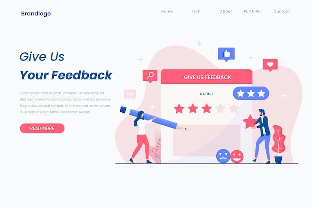 Concetto di pagina di destinazione del feedback dei clienti.