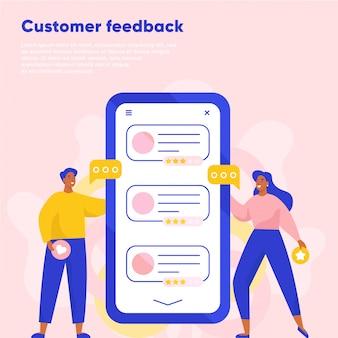 Revisione online del feedback dei clienti. testimonianze, feedback, valutazione. uomo e donna che lasciano una recensione tramite smartphone. illustrazione piatta.