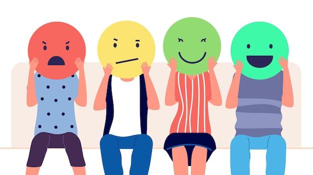 Opinione del cliente. persone in possesso di emoticon con emozioni diverse. revisione dei clienti, concetto di vettore di marketing di commento sui social media. illustrazione feedback cliente e recensione, valutazione sociale positiva