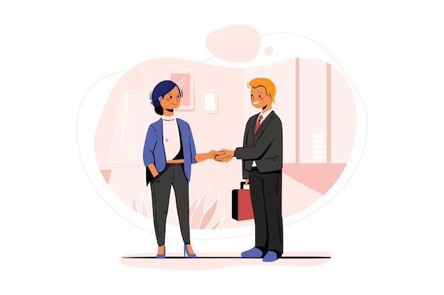 Handshaking del cliente con l'agente di marketing
