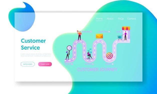 Modello di pagina di destinazione della strada del viaggio del cliente.
