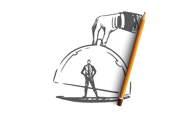 Fedeltà del cliente, affari, marketing, concetto di servizio. cliente disegnato a mano sotto lo schizzo di concetto di tappo di vetro.