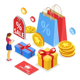 Programmi di fidelizzazione dei clienti come parte del marketing di ritorno dei clienti. confezione regalo, ricompensa, ritorni, interessi, punti, bonus. la ragazza sceglie i regali per i bonus dal programma fedeltà. isometrico