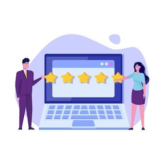 Valutazione in linea del cliente, concetto di revisione. valutazione dell'usabilità.