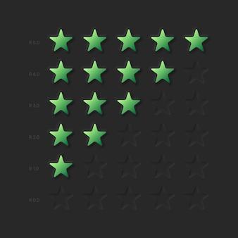 Valutazione della valutazione del prodotto del cliente o risultati del gioco ui neumorfe ux rating stars
