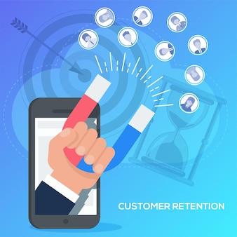 Fidelizzazione dei clienti con il concetto di telefono cellulare. strategia di marketing dell'azienda, soddisfazione del cliente, orientamento al cliente, supporto e fidelizzazione.