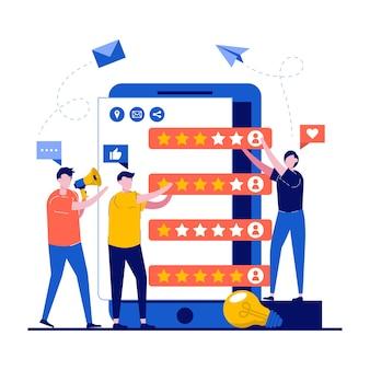 Revisione del cliente e concetti di feedback con carattere.