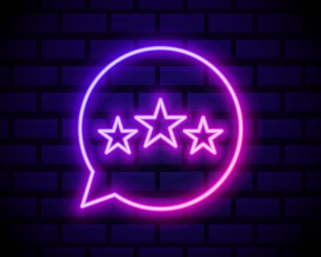 Icona di recensione del cliente in stile linea al neon. simbolo di feedback dell'utente.