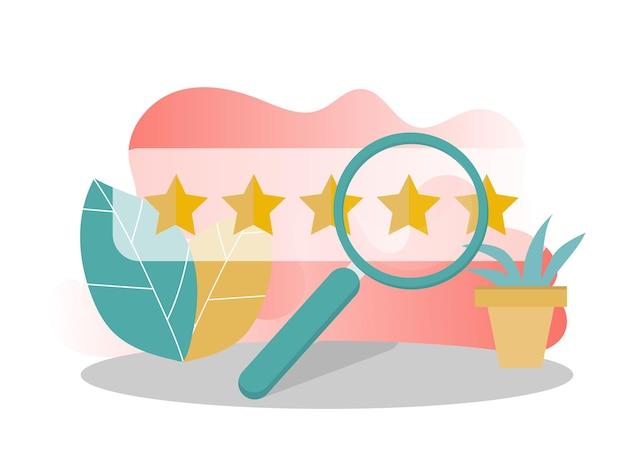 Recensione del cliente, valutazione dell'usabilità, feedback, concetto di sistema di valutazione. l'illustrazione vettoriale può essere utilizzata per landing page, template, web, app mobile, poster, banner, flyer in colori moderni