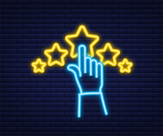 Recensione del cliente, valutazione dell'usabilità, feedback, concetto isometrico del sistema di valutazione. stile neon. illustrazione vettoriale.