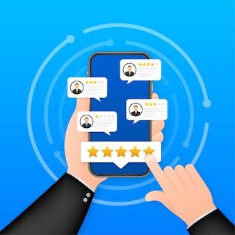 Recensione del cliente, valutazione dell'usabilità, feedback, concetto isometrico del sistema di valutazione. illustrazione vettoriale.