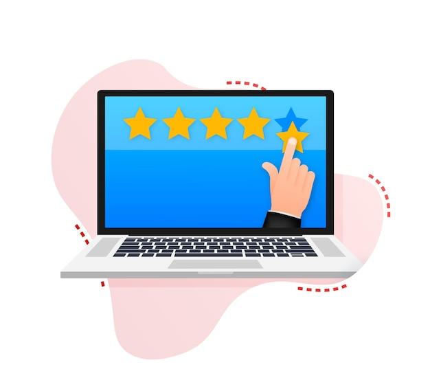 Recensione del cliente valutazione dell'usabilità feedback sistema di valutazione concetto isometrico Vettore Premium