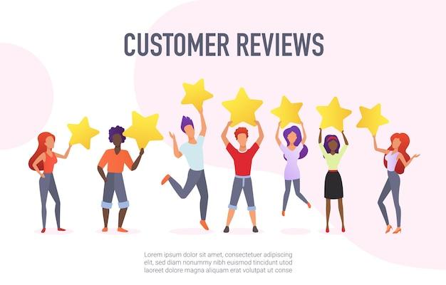 Recensioni dei clienti che valutano il concetto di feedback positivo dei servizi di prestazione