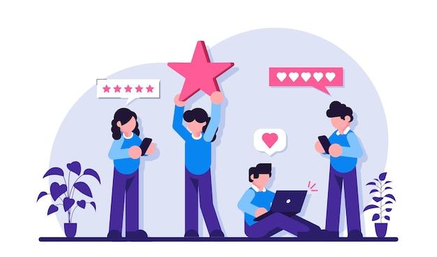 Valutazione delle recensioni dei clienti. le persone tengono le stelle, dando un feedback a cinque stelle. valutazione della recensione del cliente. Vettore Premium