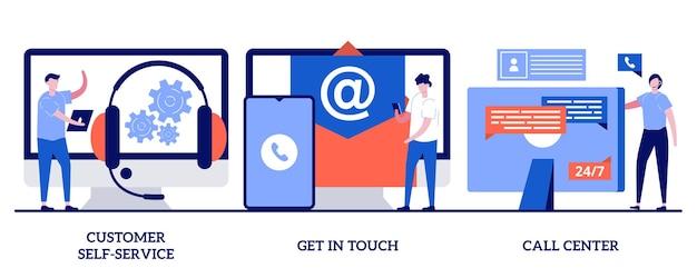 Self-service del cliente, mettersi in contatto, concetto di call center con persone minuscole. insieme dell'illustrazione della linea di aiuto. assistenza in linea, faq, sistema di supporto elettronico, chat dal vivo, metafora del punto di servizio virtuale.
