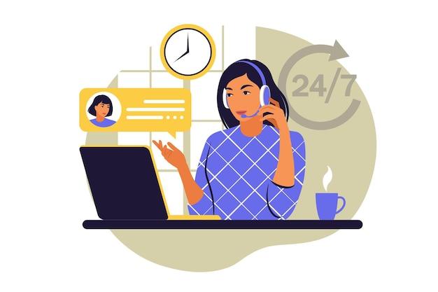 Concetto di servizio al cliente. donna con cuffie e microfono con laptop. supporto, assistenza, call center. illustrazione vettoriale. stile piatto