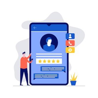 Concetto di feedback del servizio clienti con carattere in piedi vicino al grande smartphone.