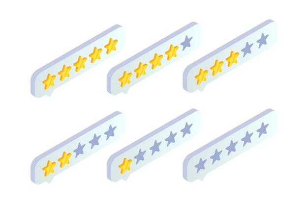 Feedback del servizio clienti, icona isometrica di recensione del prodotto. fumetto di valutazione con stella d'oro