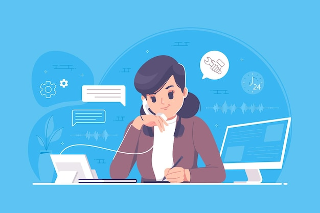Illustrazione di design piatto del servizio clienti