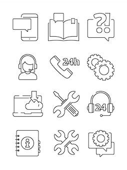 Icona della guida del servizio clienti. simboli lineari dell'amministratore di web o del centro di supporto online e telefonico isolati