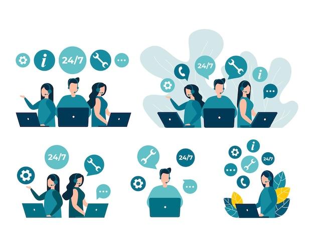 Gli operatori della hotline del servizio clienti consigliano i clienti centro di supporto tecnico online globale 24 7