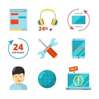 Set di icone del servizio clienti