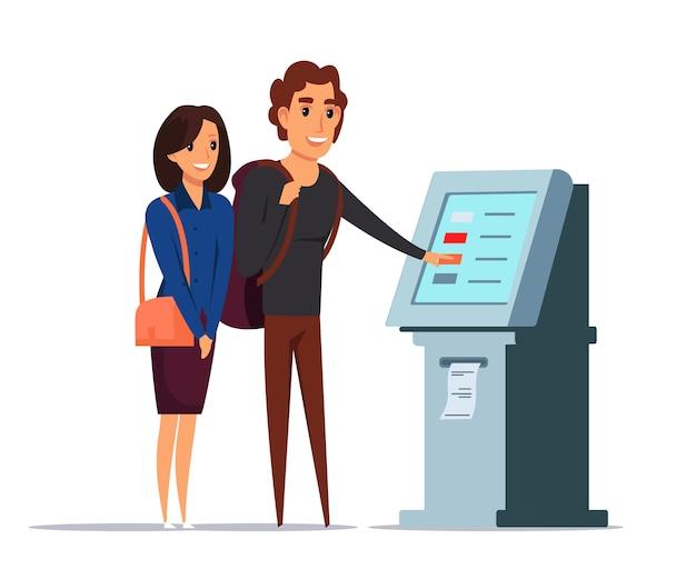 Illustrazione del servizio clienti, persone che utilizzano personaggi dei cartoni animati di atm.