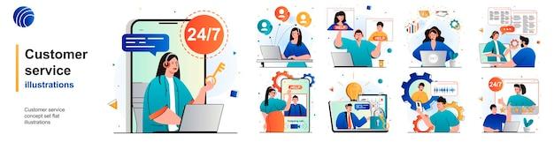 Set isolato del servizio clienti consulenza e supporto hotline del call center di scene in appartamento