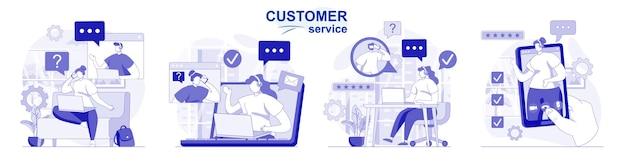 Servizio clienti isolato set in design piatto persone consigliano e supportano il call center dell'operatore