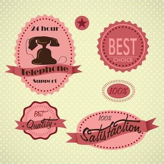 Etichette di servizio clienti su sfondo vintage