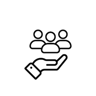 Vettore dell'icona della linea di servizio clienti. servizio completo di assistenza al cliente. mano con le persone. illustrazione vettoriale.