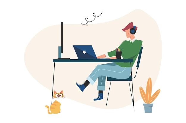 Servizio clienti, operatore hotline maschile consiglia il cliente, supporto tecnico globale online