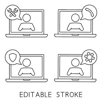 Assistenza clienti. uomo con il fumetto sullo schermo del laptop. icona della linea di supporto tecnico. illustrazione concettuale per assistenza, call center, servizio di aiuto virtuale. supporto soluzione o consiglio. vettore
