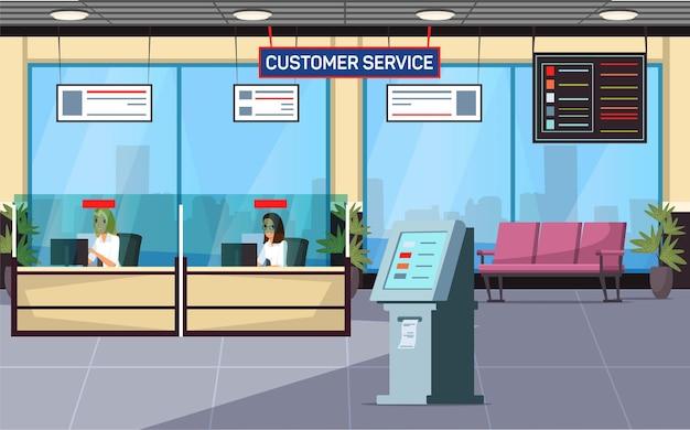Ufficio del servizio clienti banca lobby zona lounge sala d'attesa interno bancomat reception